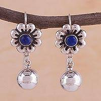 Lapis lazuli dangle earrings, 'Flower Dance' - Lapis Lazuli and 925 Silver Floral Dangle Earrings from Peru