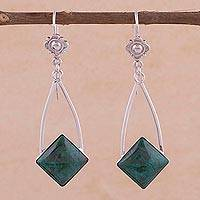 Chrysocolla dangle earrings, 'Forest Diamond' - Handcrafted Chrysocolla Dangle Earrings in Sterling Silver