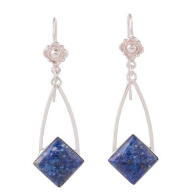 Lapis lazuli dangle earrings, 'Pacific Diamond' - Modern Artisan Crafted Lapis Lazuli and Silver 925 Earrings