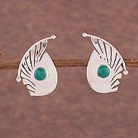 Chrysocolla button earrings, 'Fantasy Curves' - Chrysocolla and Sterling Silver Button Earrings from Peru