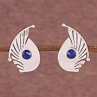 Lapis lazuli button earrings, 'Fantasy Curves' - Lapis Lazuli and Sterling Silver Button Earrings from Peru