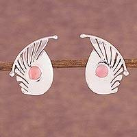Rose quartz button earrings, 'Fantasy Curves' - Rose Quartz and Sterling Silver Button Earrings from Peru