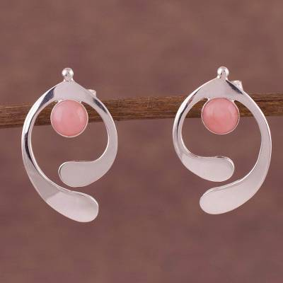 Opal drop earrings, 'Caress of an Angel' - Pink Opal and Sterling Silver Drop Earrings from Peru