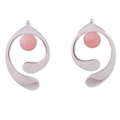 Rose quartz drop earrings, 'Caress of an Angel' - Rose Quartz and Sterling Silver Drop Earrings from Peru