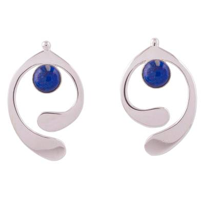 Lapis lazuli drop earrings, 'Caress of an Angel' - Lapis Lazuli and Sterling Silver Drop Earrings from Peru