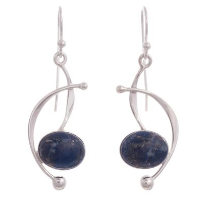 Lapis lazuli dangle earrings, 'Crescent Eyes' - Lapis Lazuli and Sterling Silver Dangle Earrings from Peru