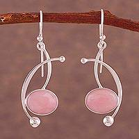 Opal dangle earrings, 'Crescent Eyes' - Pink Opal and Sterling Silver Dangle Earrings from Peru