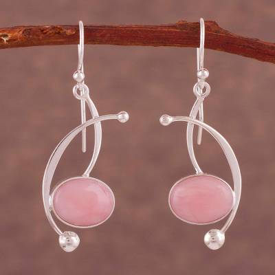 Rose quartz dangle earrings, 'Crescent Eyes' - Rose Quartz and Sterling Silver Dangle Earrings from Peru