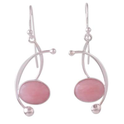Rose quartz dangle earrings, 'Crescent Eyes' - Rose Quartz and Sterling Silver Dangle Earrings from Peru