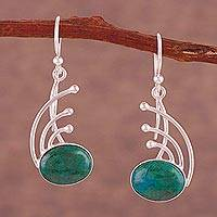 Chrysocolla dangle earrings, 'Elegant Eyes' - Chrysocolla and Sterling Silver Dangle Earrings from Peru