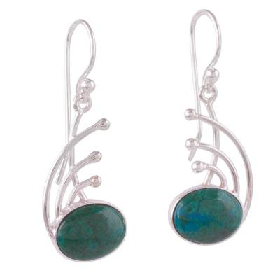 Chrysocolla and Sterling Silver Dangle Earrings from Peru