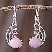 Rose quartz dangle earrings, 'Elegant Eyes' - Rose Quartz and Sterling Silver Dangle Earrings from Peru
