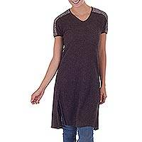 100% alpaca and leather accent tunic, 'Soft Embrace' - Brown 100% Alpaca and Leather Accent Tunic from Peru