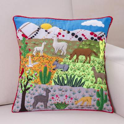 Cotton blend patchwork cushion cover, 'Andean Nature Scene' - Cotton Blend Nature Themed Patchwork Cushion Cover from Peru