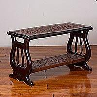 Leather and wood accent table, 'Floral Lyres' - Leather and Wood Accent Table with Floral Motifs from Peru