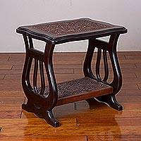 Leather and wood side table, 'Jungle Cats' - Leather and Wood Bird and Wild Cat Side Table from Peru