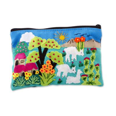 Patchwork Fair Trade Cosmetic Case with Peruvian Landscape