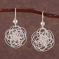 Sterling silver dangle earrings, 'Elegant Waves' - Artisan Crafted Sterling Silver Dangle Earrings from Peru