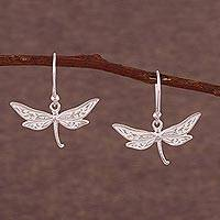 Silver dangle earrings, 'Free Dragonflies' - 950 Silver Dragonfly Dangle Earrings from Peru