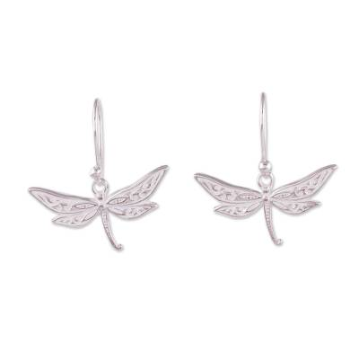 Sterling silver dangle earrings, 'Free Dragonflies' - Sterling Silver Dragonfly Dangle Earrings from Peru