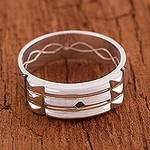 Artisan Crafted Sterling Silver Atlantis Band Ring from Peru, 'Atlantis Power'