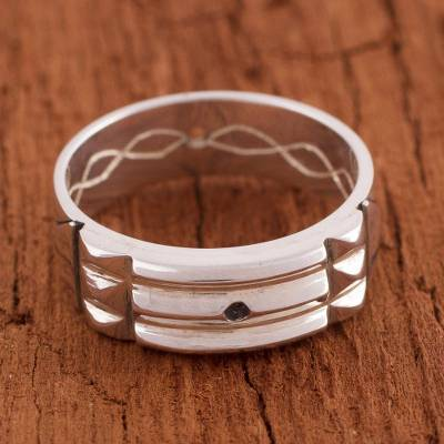 Sterling silver band ring, 'Atlantis Power' - Artisan Crafted Sterling Silver Atlantis Band Ring from Peru