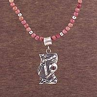 Rhodonite beaded pendant necklace, 'Profound Image' - Rhodonite and Sterling Silver Beaded Necklace from Peru