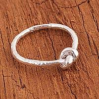 Sterling silver band ring, 'Shining Knot' - Sterling Silver Band Ring with Knot Shape from Peru