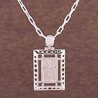 Sterling silver pendant necklace, 'Force of Faith' - Sterling Silver Rectangular Cross Pendant Necklace from Peru