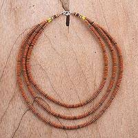 Ceramic beaded necklace, 'Sweet Lentils' - Three-Strand Ceramic Beaded Necklace from Peru