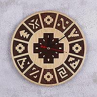 wood wall clock u0027inca yearu0027 handcrafted wood inca calendar wall clock from