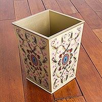 Reverse painted glass waste basket, 'Elegant Medallion' - Reverse Painted Glass Floral Wastebasket in Cream from Peru