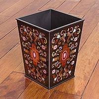 Reverse painted glass wastebasket, 'Florid Medallion' - Reverse Painted Glass Floral Wastebasket in Black from Peru