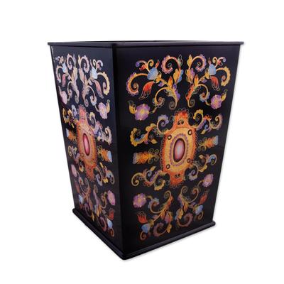 Reverse painted glass wastebasket, 'Florid Medallion' - Reverse Painted Glass Floral Wastebasket in Black from Peru