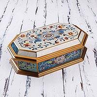 Reverse painted glass decorative box, 'Pastel Flower' - Reverse Painted Glass Decorative Box with Floral Motifs