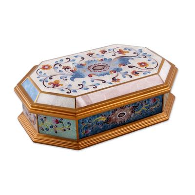 Reverse painted glass decorative box, 'Pastel Flower' - Reverse Painted Glass Decorative Box with Floral Motifs