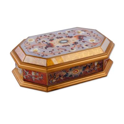 Reverse painted glass decorative box, 'Treasure Shine' - Reverse Painted Glass Decorative Box with Floral Motifs