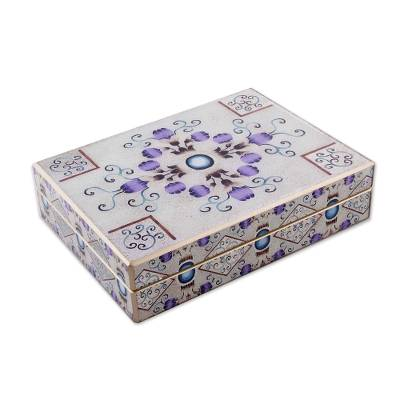 Reverse painted glass decorative box, 'Sweet Cocoon' - Reverse Painted Glass Decorative Box in Silver from Peru