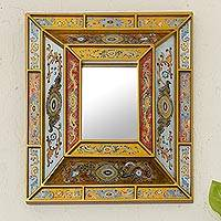 Reverse painted glass wall mirror, 'Florid Wonder' - Reverse Painted Glass Mirror with Floral Motifs from Peru