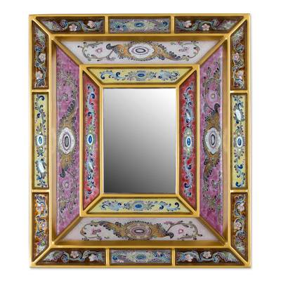Reverse painted glass wall mirror, 'Florid Majesty' - Reverse Painted Glass Mirror with Floral Motifs from Peru