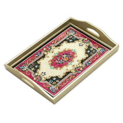 Reverse painted glass tray, 'Heavenly Bouquet in Silver' - Reverse Painted Glass Tray in Silver from Peru
