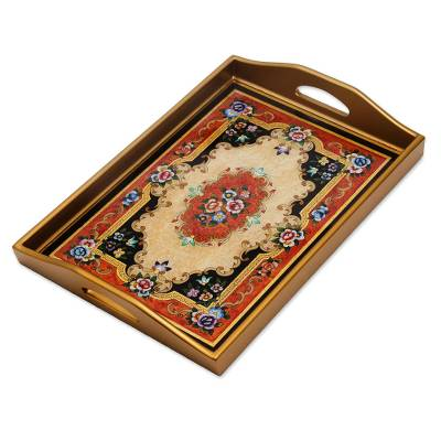 Reverse painted glass tray, 'Heavenly Bouquet in Gold' - Reverse Painted Glass Tray in Gold from Peru