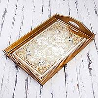 Reverse painted glass tray, 'Floral Marvel in Gold'