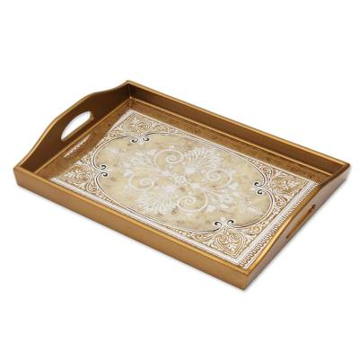 Reverse painted glass tray, 'Floral Marvel in Gold' - Reverse Painted Glass Tray in Gold from Peru