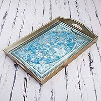 Reverse painted glass tray, 'Floral Marvel in Silver' - Reverse Painted Glass Tray in Blue and Silver from Peru