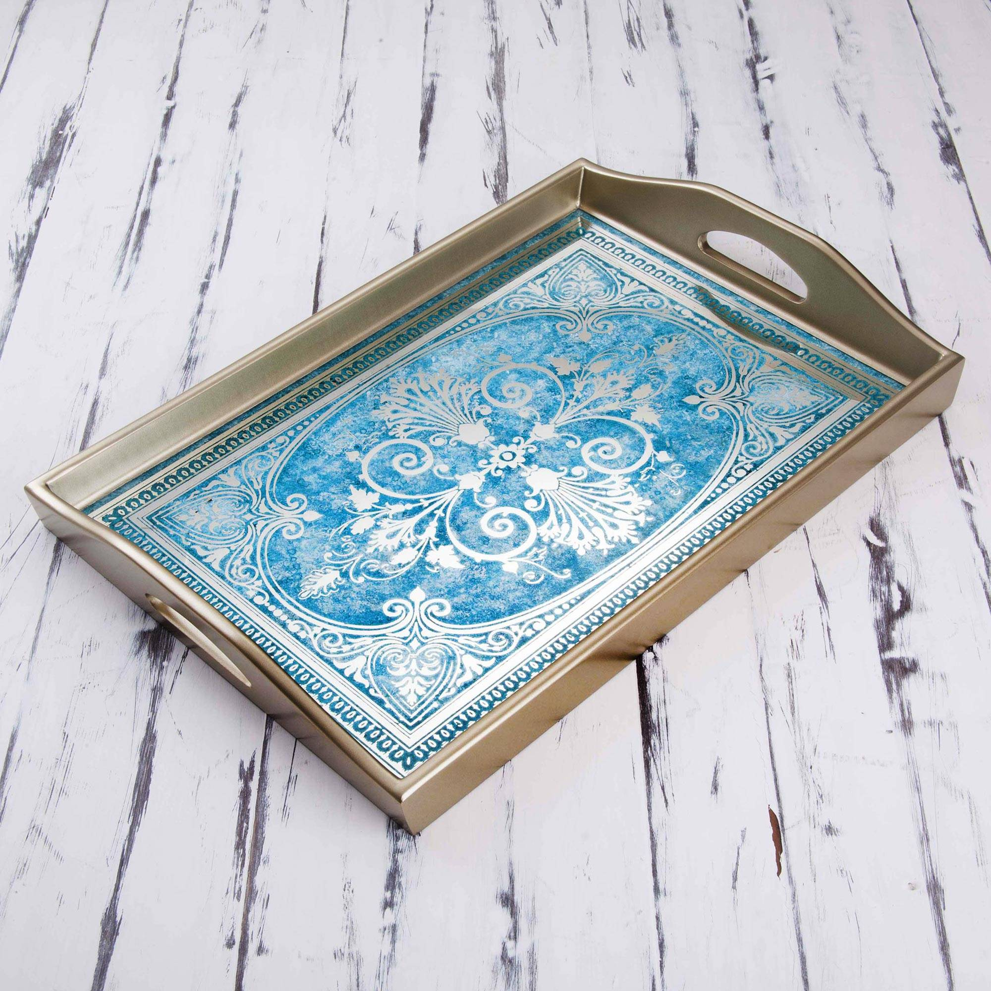 Reverse Painted Glass Tray in Blue and Silver from Peru