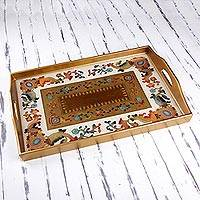 Reverse painted glass tray, 'Floral Citadel' - Reverse Painted Glass Tray with Floral Motifs from Peru