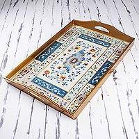 Reverse painted glass tray, 'Colonial Medallion' - Reverse Painted Glass Tray with Floral Motifs from Peru