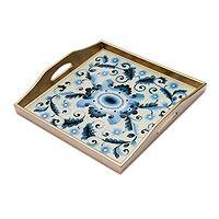 Reverse painted glass tray, 'Celestial Paradise' - Reverse Painted Glass Tray with Blue Floral Motifs from Peru