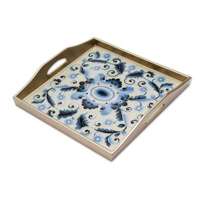 Reverse-painted glass tray, 'Celestial Paradise' - Reverse-Painted Glass Tray with Blue Floral Motifs from Peru